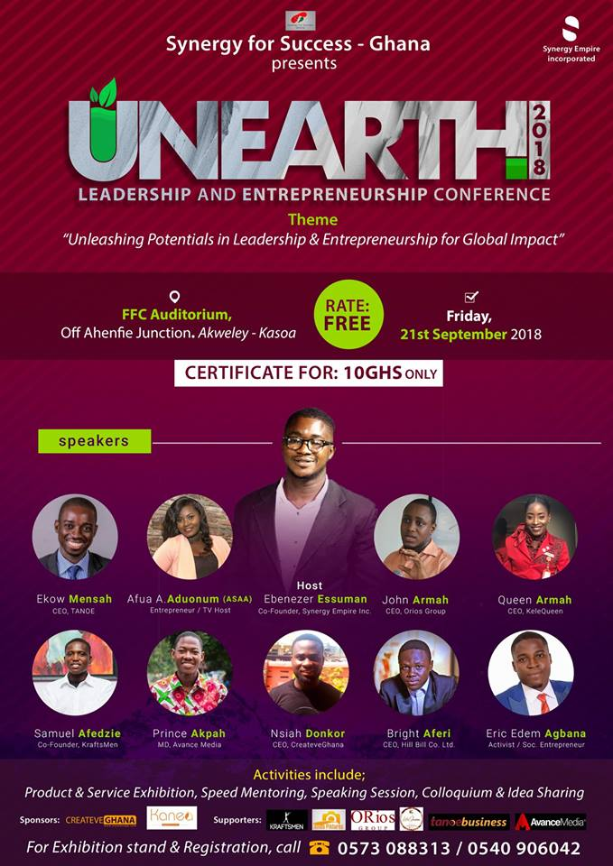 Photo of Prince Akpah, Ekow Mensah, John Armah, Afua Asantewaa Aduonum And Others To Speak At 2018 UNEARTH Conference