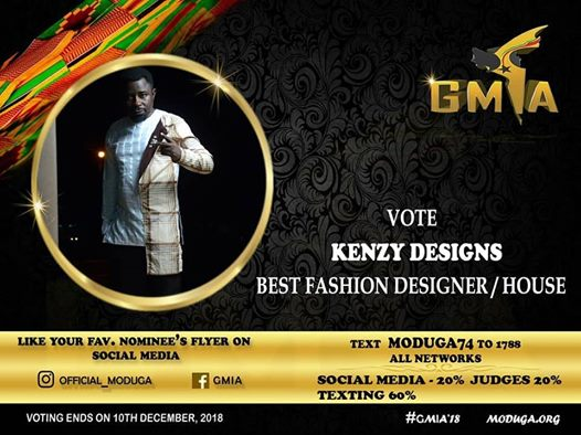 Photo of GMIA 2018: Kenzy Designs Eyes Best Fashion Designer Of The Year