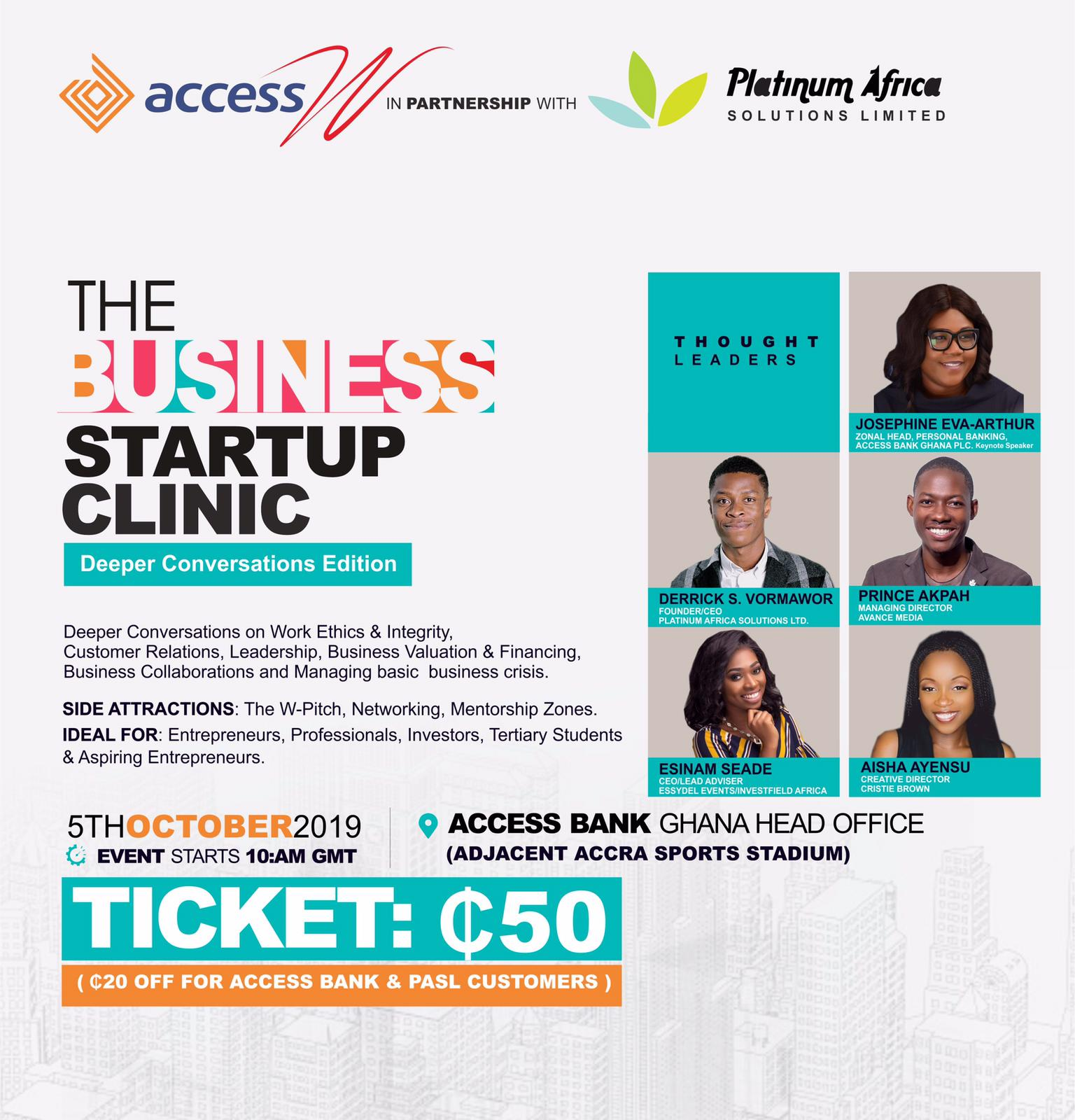 Photo of Josephine Eva-Arthur, Prince Akpah, Derrick Vormawor To Speak At 8th Business Start Up Clinic