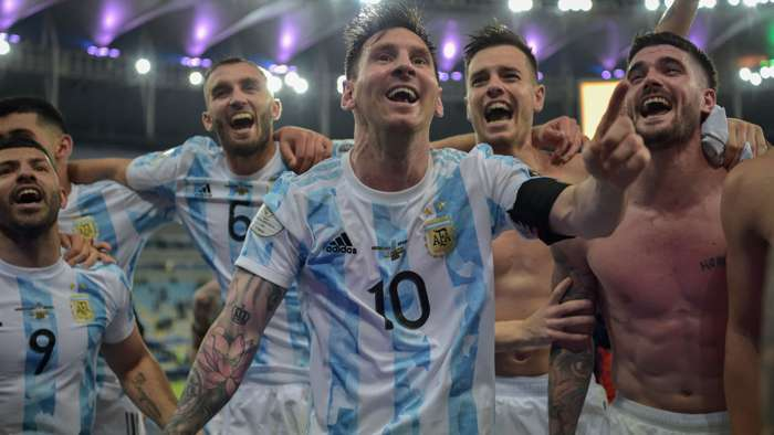 Lionel Messi and Argentina players at Copa America final